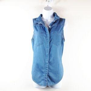 Cotton On   Sleeveless Denim Pocket Blouse Top